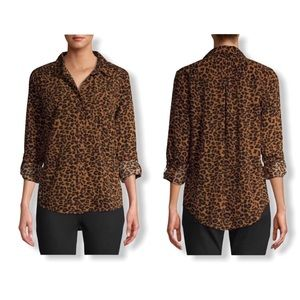 Time and Tru Button Down Shirt Roll Cuff Leopard M